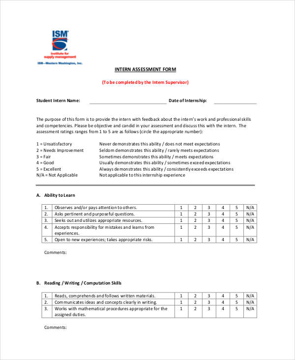 intern interview assessment