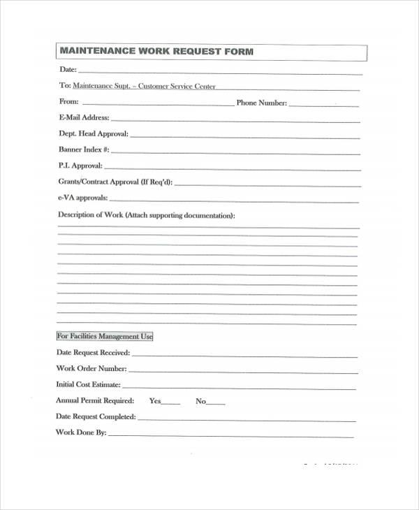 6  maintenance work order form sample