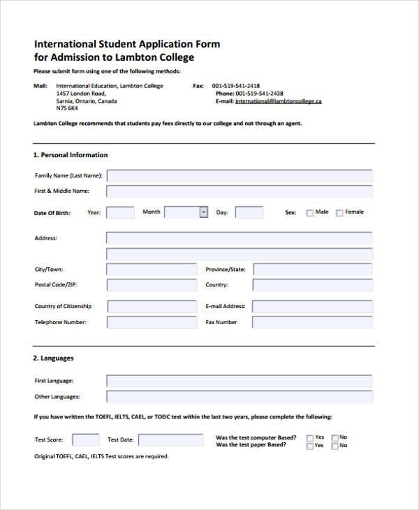 international college student application form