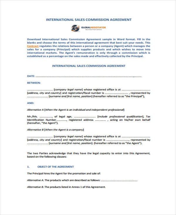 international sales commission agreement form