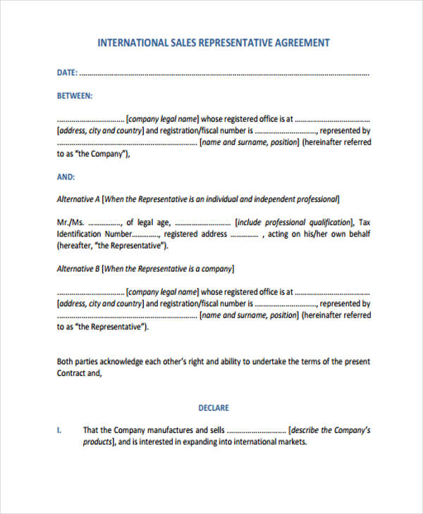international sales representative agreement form