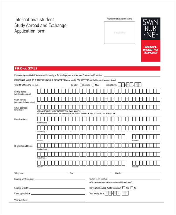 international student exchange application form