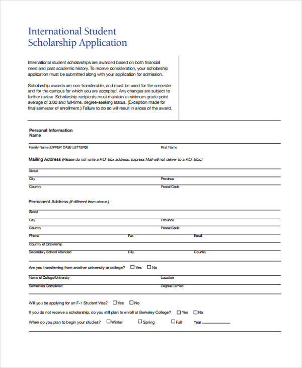 Student Application Form Templates