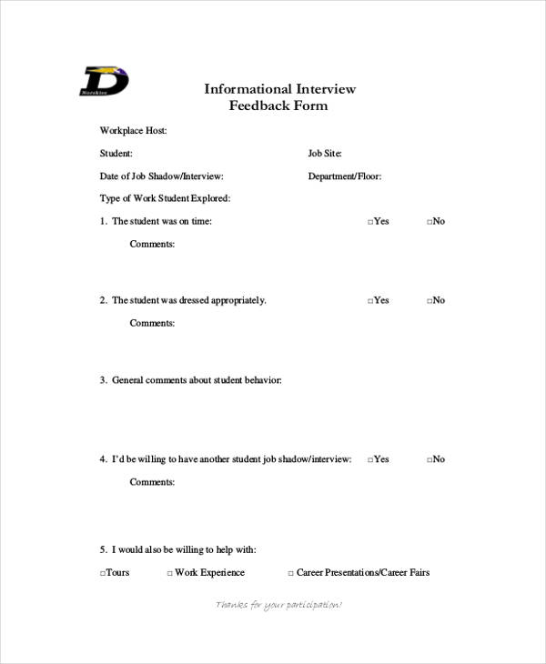 interview presentation feedback evaluation form