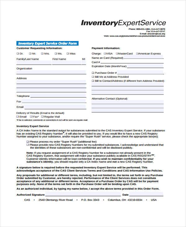 inventory maintenance service order form