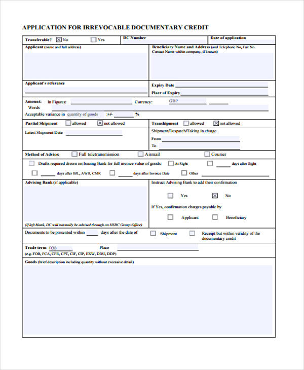 irrevocable documentary credit application form1