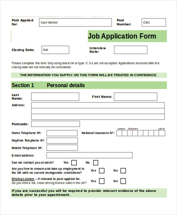 Job Application Form Sample  Free Sample Example Format Download