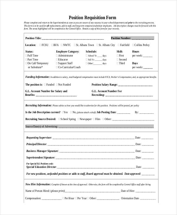 Job Position Requisition Form