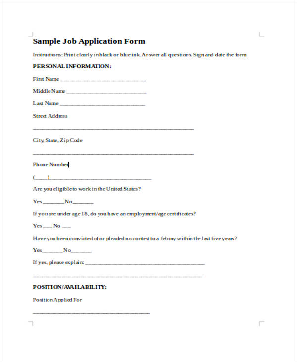 job vacancy application form