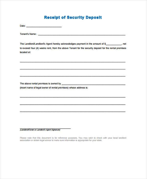 Security Deposit Return Form Sample  Free Sample Example Format