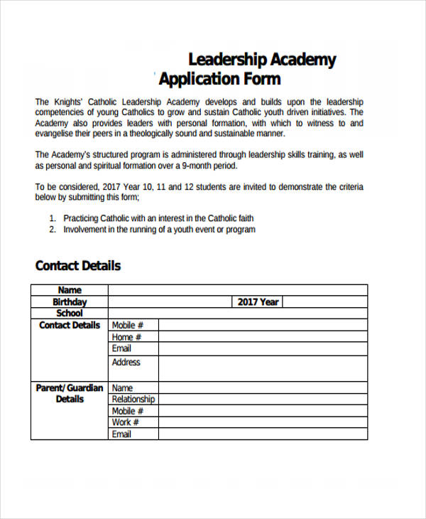 leadership academy application form