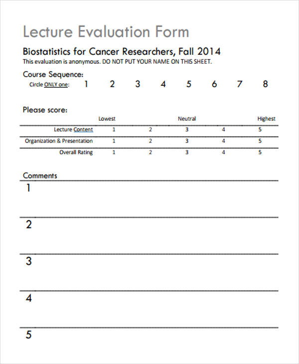Free 7 Lecture Evaluation Form In Samples Examples Format