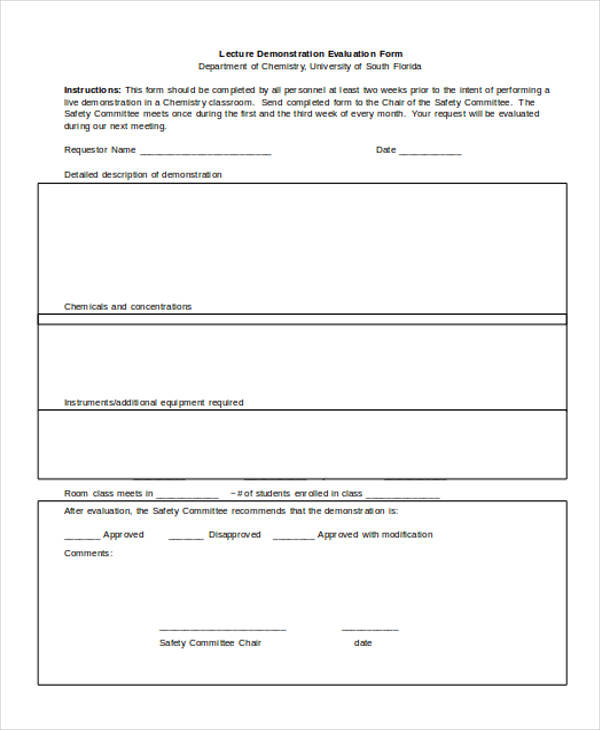 7+ Lecture Evaluation Form Samples - Free Samples, Examples Format