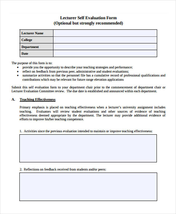 Lecture Evaluation Form Samples  Free Samples Examples Format