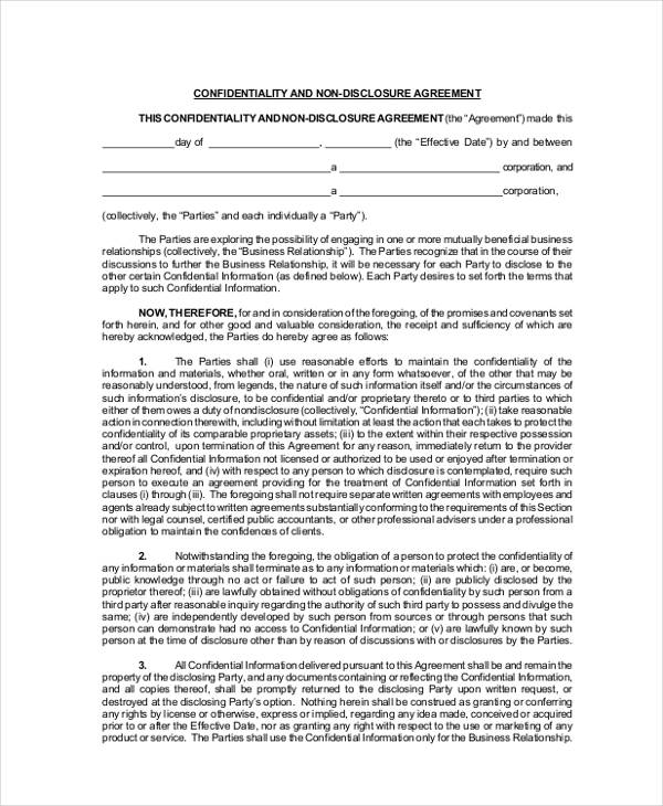 legal confidentiality non disclosure agreement form