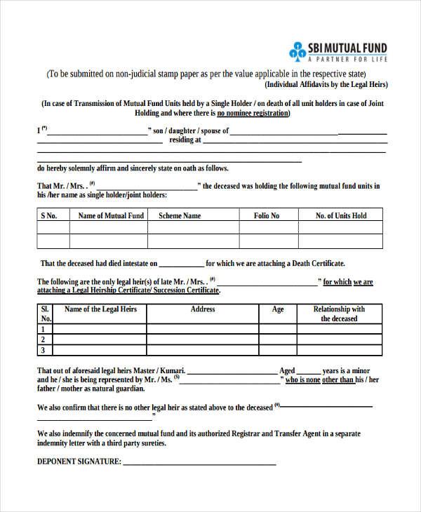 legal heir affidavit