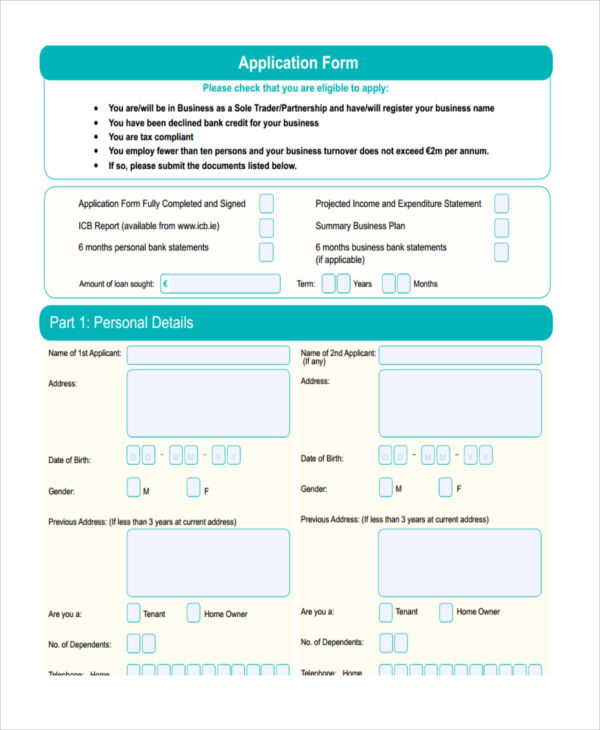 loan application proposal form