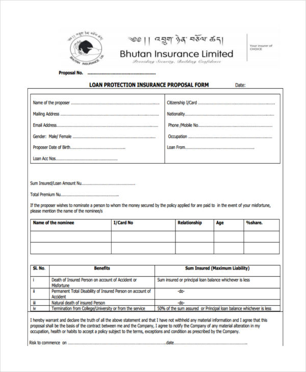 loan protection proposal form