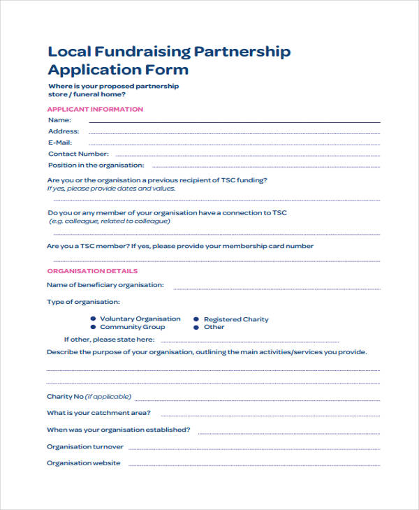 local partnership application form