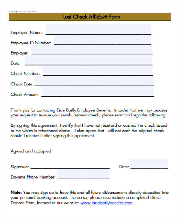 free 8  lost affidavit forms in pdf