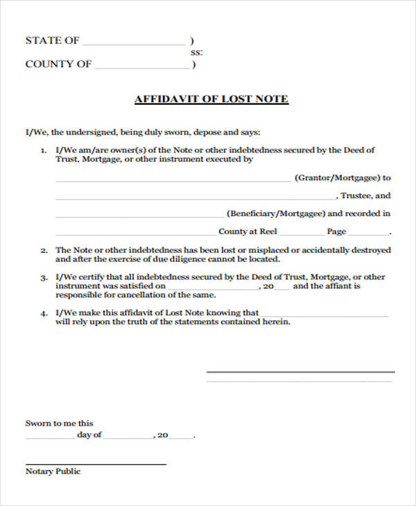 8 Lost Affidavit Form Samples Free Sample Example Format Download – Affidavit Sample Format