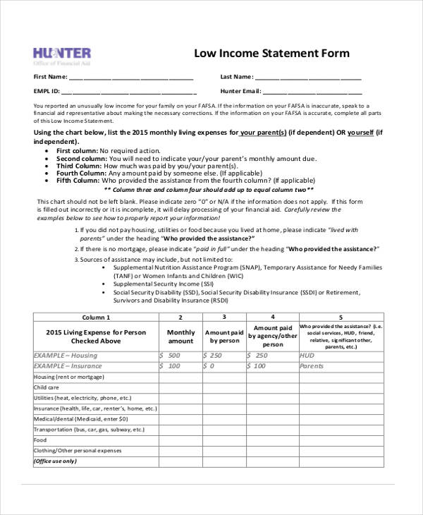 Low Income Statement Form Example  Blank Income Statement Form