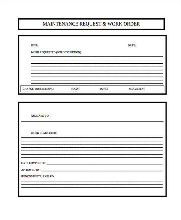 free 7  maintenance work order forms in pdf