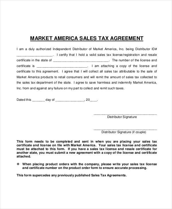 market sales tax agreement form