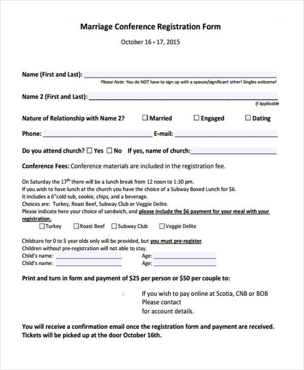 marriage conference registration form