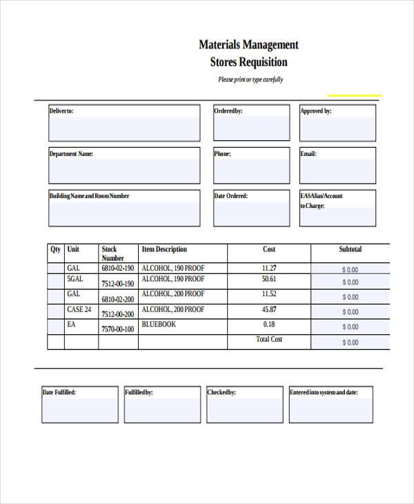 material management requisition form