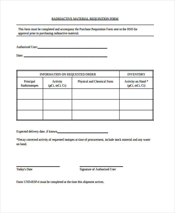 material requisition purchase form