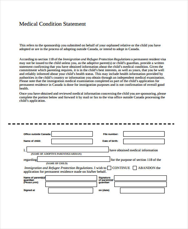 medical condition statement form