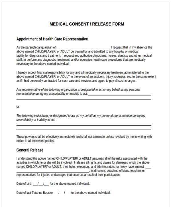 General Release Forms General Release Form  Free Samples Examples