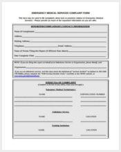 medical device complaint form sample