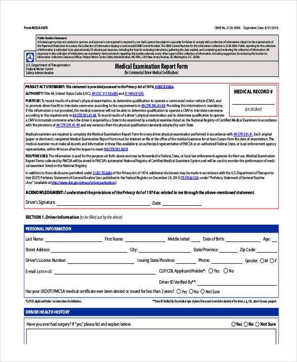 medical examination application report form