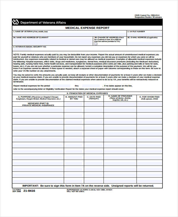 medical expense report form