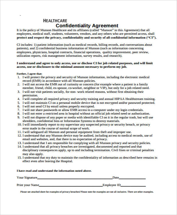 medical hipaa confidentiality agreement form