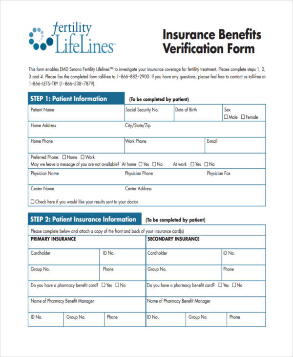 medical insurance benefit verification form1