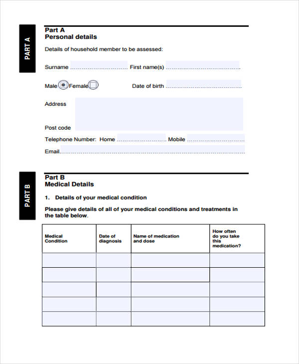 medical needs assessment form