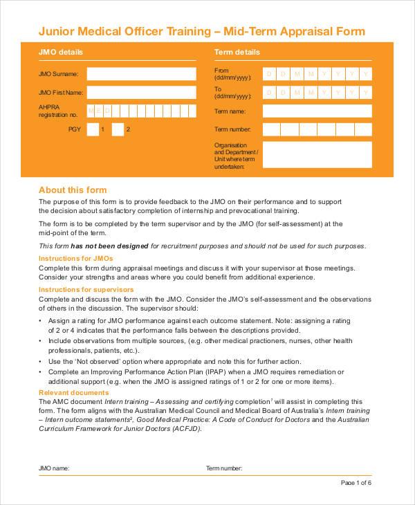 medical officer appraisal form