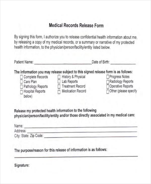 medical records form