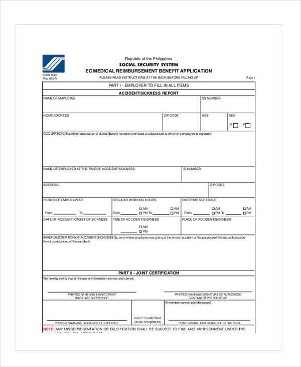 medical reimbursement benefit application form1