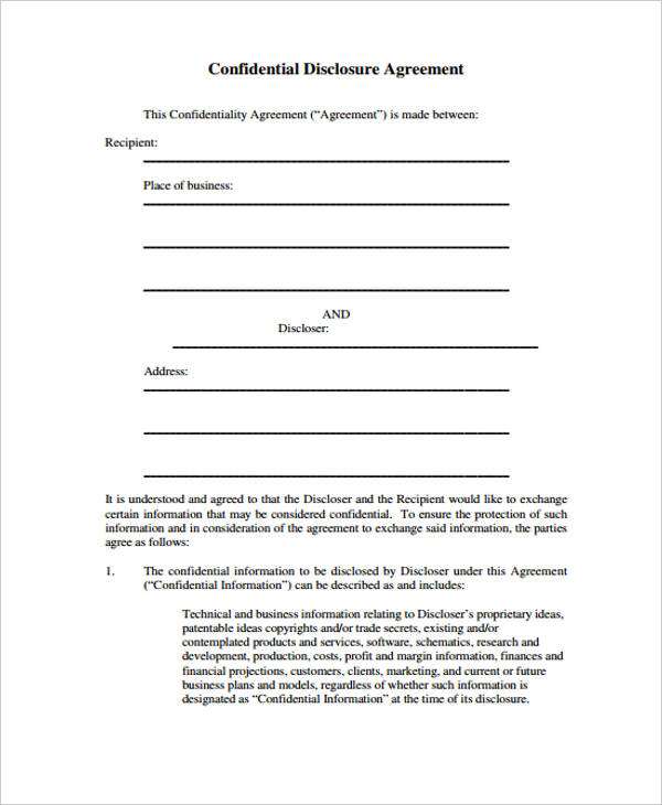 21 Confidentiality Agreement Form Template Free Documents in – Medical Confidentiality Agreement