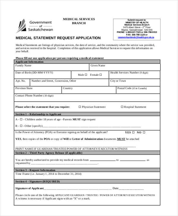 medical statement request application form