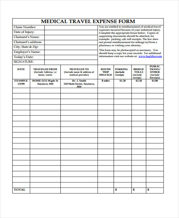 medical travel expense form