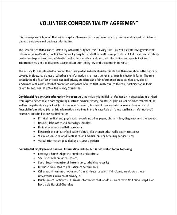 medical volunteer confidentiality agreement form