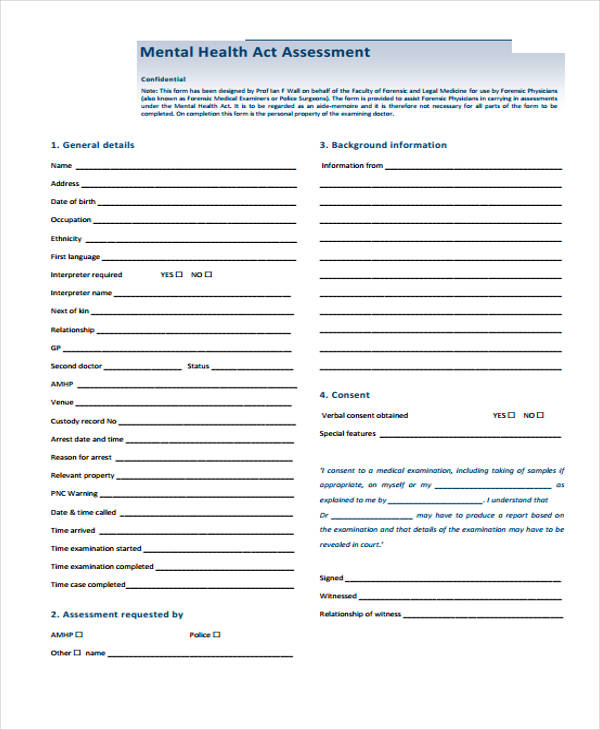 mental health act assessment form