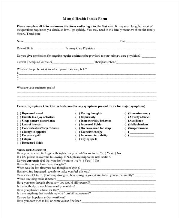 Mental Health Assessment Intake Form