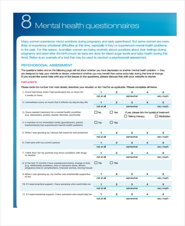 mental health assessment questionnaire form