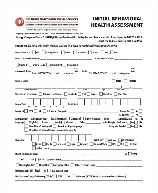 mental health initial assessment form